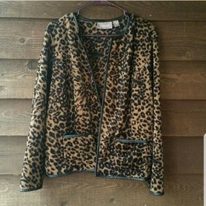 Chico's leopard print open front jacket large